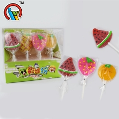 Fruit shape lollipop gummy candy